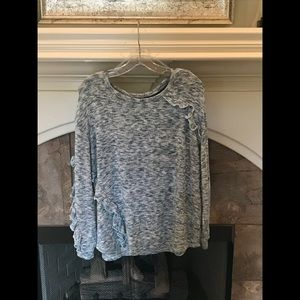 Vintage America Avril Space Dye Ruffled Knit Top